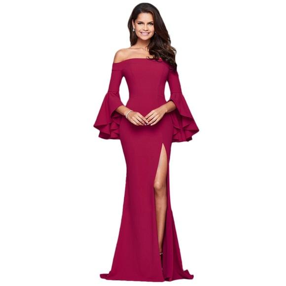 a658b0b0bc4 Faviana Dresses   Skirts - Off Shoulder Bell Sleeved Formal Prom Dress